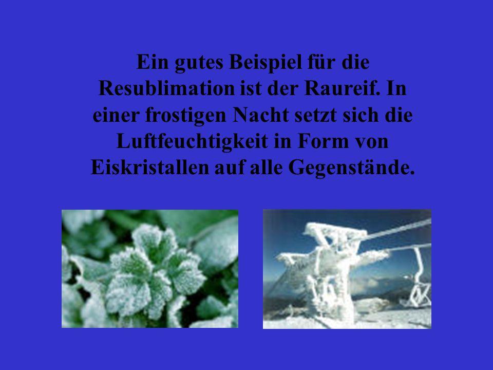 Ein gutes Beispiel für die Resublimation ist der Raureif. In einer frostigen Nacht setzt sich die Luftfeuchtigkeit in Form von Eiskristallen auf alle