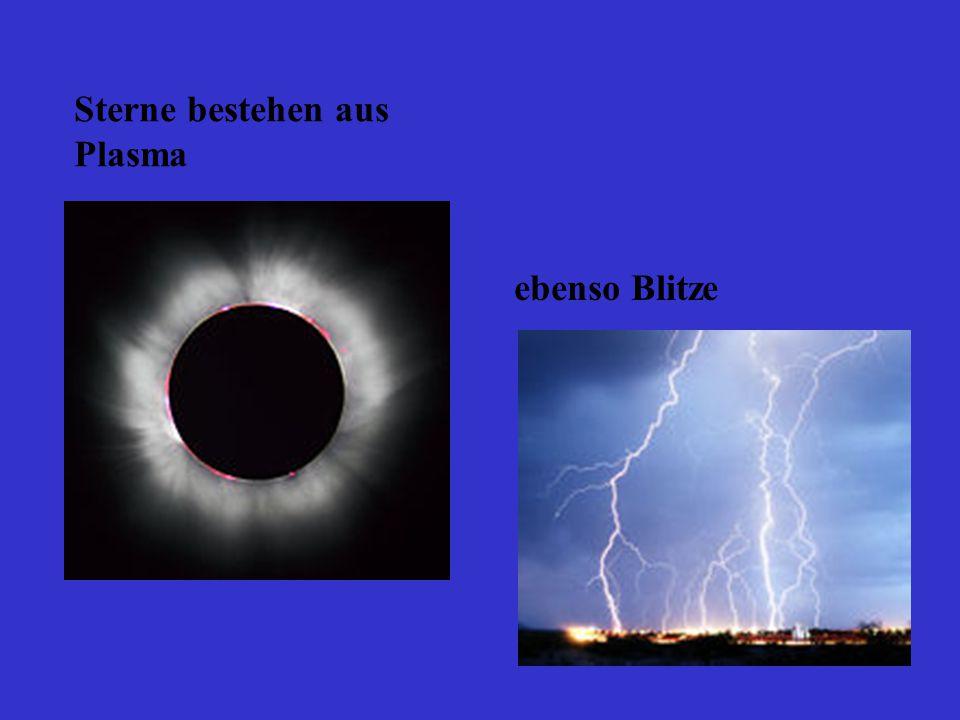 Sterne bestehen aus Plasma ebenso Blitze