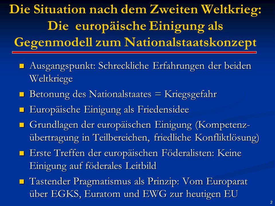 3 Die Situation heute: Weitgehende Verunsicherung im Hinblick auf die Zukunft Europas Europäische Verfassung konnte nicht realisiert werden Europäische Verfassung konnte nicht realisiert werden EU-Erweiterung wird vielfach als Bedrohung angesehen EU-Erweiterung wird vielfach als Bedrohung angesehen Schuldenkrise einzelner Euroländer gilt als Eurokrise Schuldenkrise einzelner Euroländer gilt als Eurokrise Solidarität kaum vorhanden Solidarität kaum vorhanden Aufkommen europakritischer Parteien (Wahre Finnen) Aufkommen europakritischer Parteien (Wahre Finnen) Europafreundliche Führungspersönlichkeiten fehlen Europafreundliche Führungspersönlichkeiten fehlen Orientierung für Bürgerinnen und Bürger nicht vorhanden Orientierung für Bürgerinnen und Bürger nicht vorhanden Künftige Reformschritte in weiter Ferne Künftige Reformschritte in weiter Ferne Fazit: Europa braucht neue Impulse