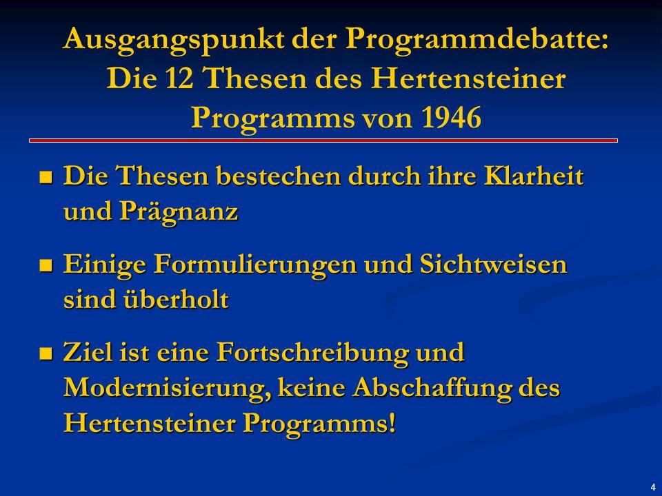Ausgangspunkt der Programmdebatte: Die 12 Thesen des Hertensteiner Programms von 1946 Die Thesen bestechen durch ihre Klarheit und Prägnanz Die Thesen