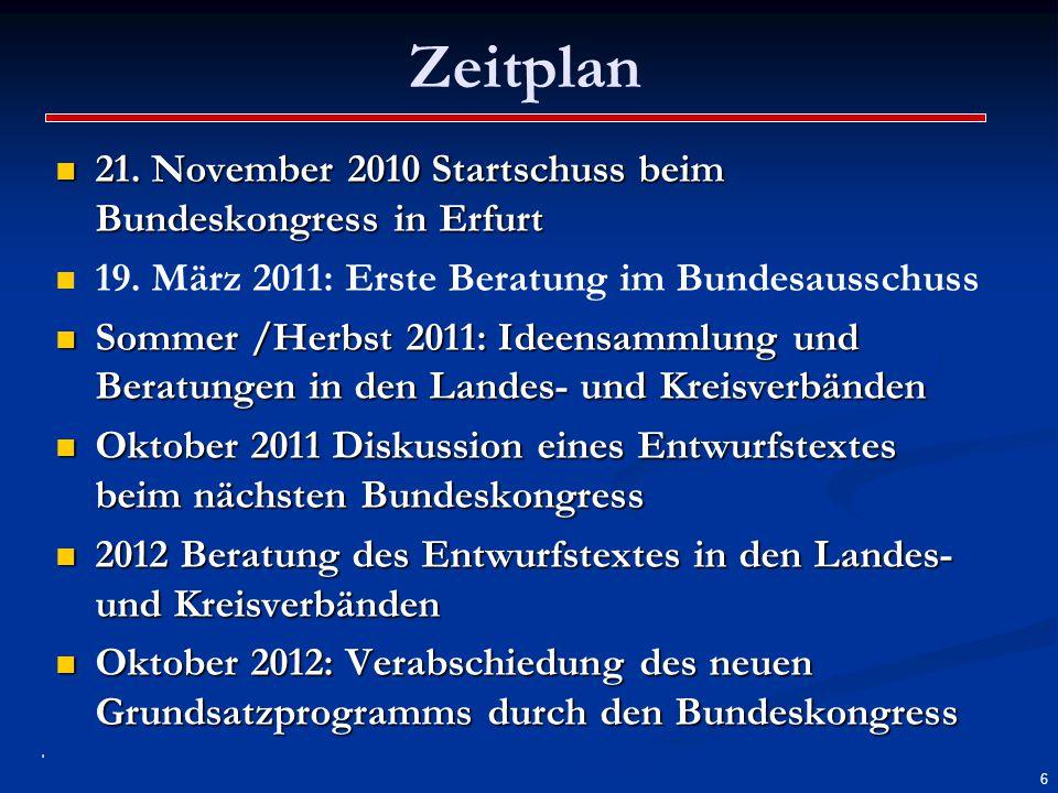 Zeitplan 21. November 2010 Startschuss beim Bundeskongress in Erfurt 21. November 2010 Startschuss beim Bundeskongress in Erfurt 19. März 2011: Erste