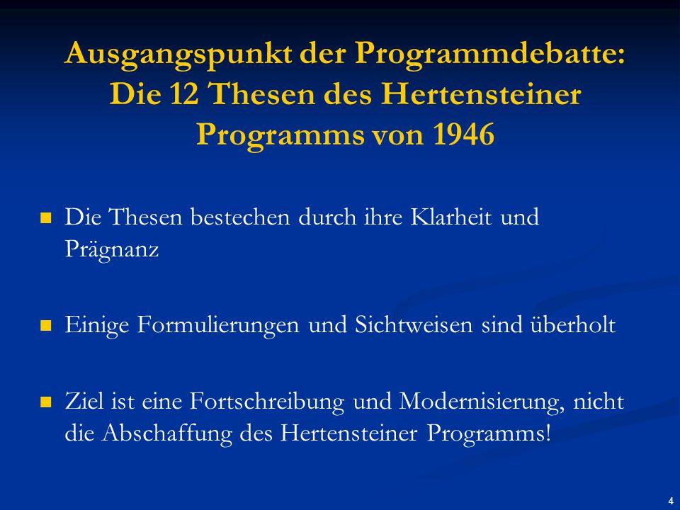 Ausgangspunkt der Programmdebatte: Die 12 Thesen des Hertensteiner Programms von 1946 Die Thesen bestechen durch ihre Klarheit und Prägnanz Einige Formulierungen und Sichtweisen sind überholt Ziel ist eine Fortschreibung und Modernisierung, nicht die Abschaffung des Hertensteiner Programms.