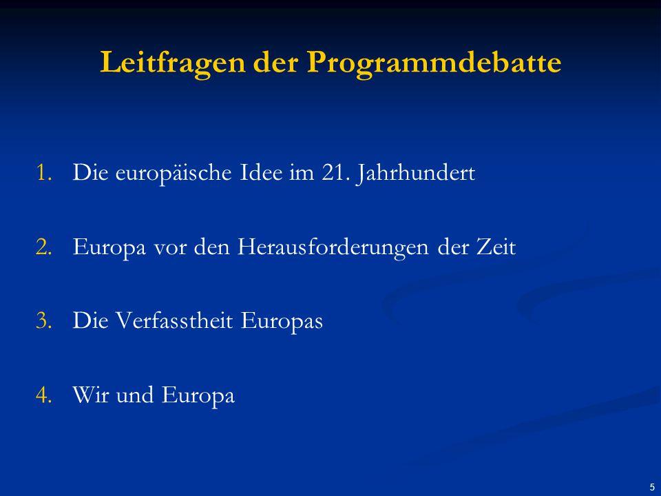 Leitfragen der Programmdebatte 1.1.Die europäische Idee im 21.