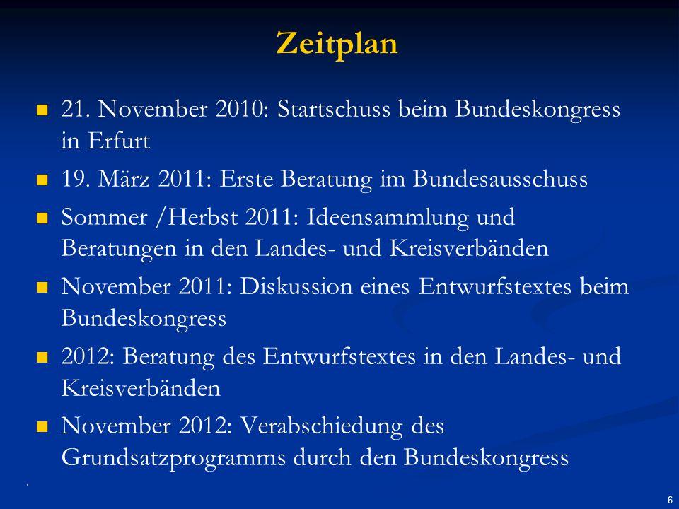Zeitplan 21.November 2010: Startschuss beim Bundeskongress in Erfurt 19.