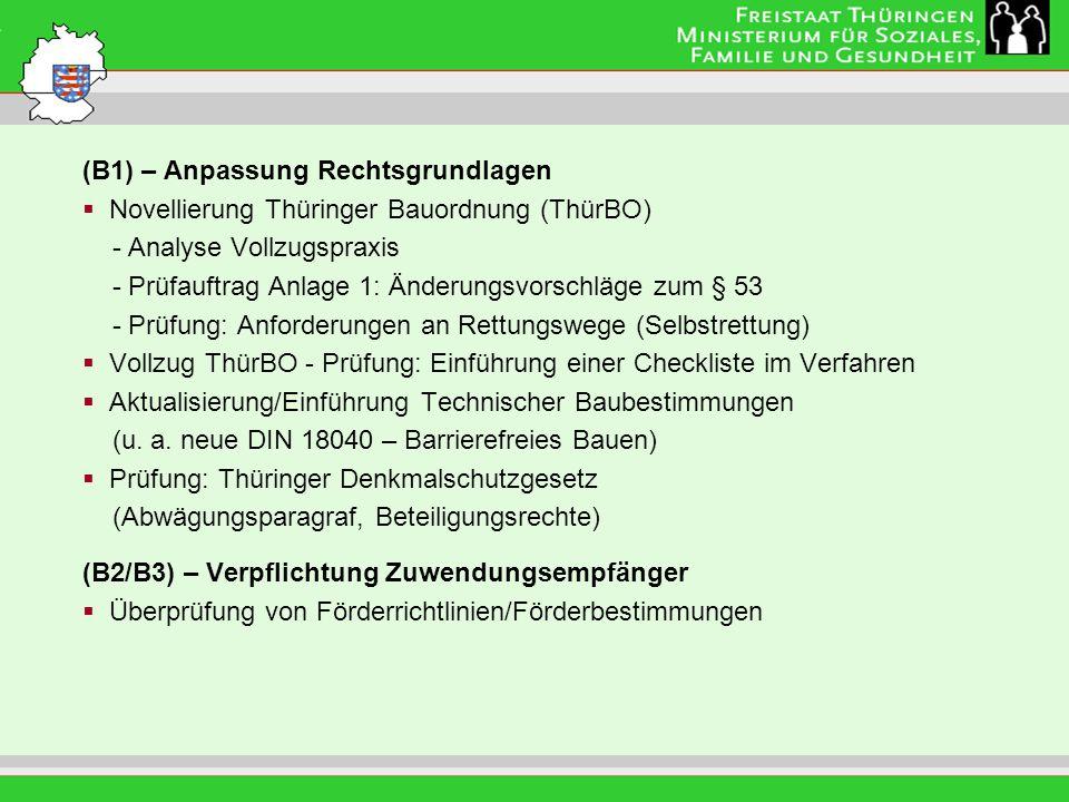 Leitung: Eva Morgenroth (B4) – Barrierefreiheit von Landesliegenschaften Feststellen von Barrieren (Überprüfung) Kontinuierlicher barrierefreier Ausbau (B5) – Barrierefreiheit von Kliniken (Bestand) Feststellen von Nachholbedarf (Überprüfung: Sanitäranlagen Patientenzimmer, Ausstattung Medizintechnik) (B6) – Barrierefreiheit von Praxen/Einrichtungen der Heilberufe Initiative zur Sensibilisierung (Erhebung, Bewertung, Veröffentlichung) (B7) – Barrierefreiheit von Gaststätten und Beherberungsstätten Prüfung: Möglichkeiten im Rahmen der gaststättenrechtlichen und gewerberechtlichen Erlaubnis