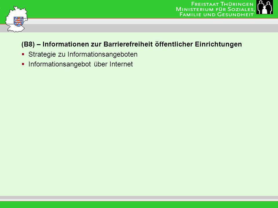 Leitung: Eva Morgenroth (B8) – Informationen zur Barrierefreiheit öffentlicher Einrichtungen Strategie zu Informationsangeboten Informationsangebot über Internet