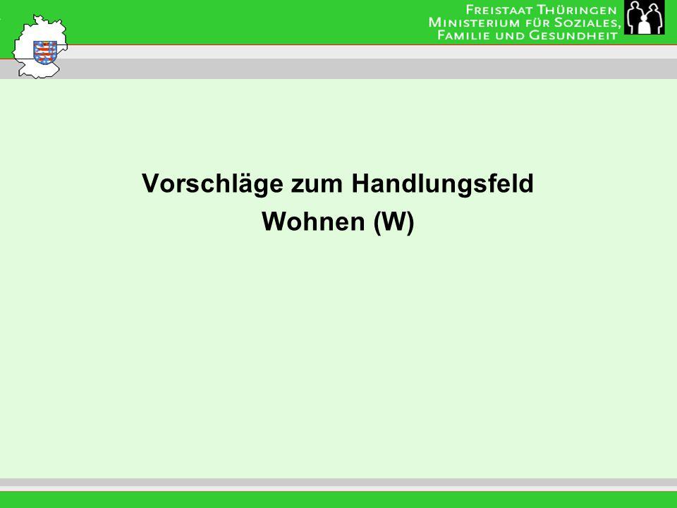 Leitung: Eva Morgenroth Vorschläge zum Handlungsfeld Wohnen (W)
