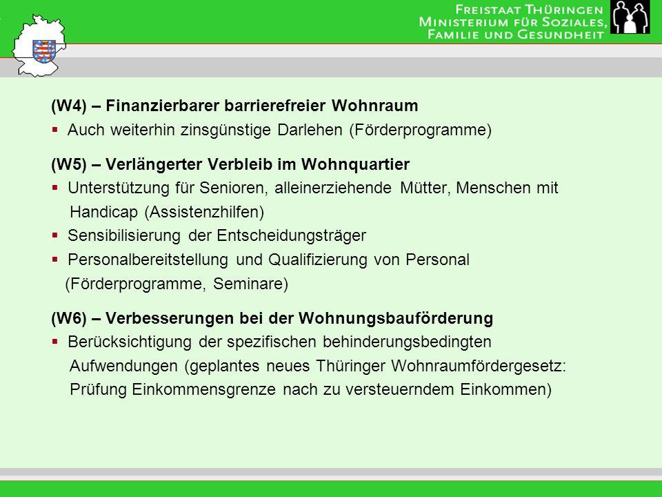 Leitung: Eva Morgenroth (W4) – Finanzierbarer barrierefreier Wohnraum Auch weiterhin zinsgünstige Darlehen (Förderprogramme) (W5) – Verlängerter Verbleib im Wohnquartier Unterstützung für Senioren, alleinerziehende Mütter, Menschen mit Handicap (Assistenzhilfen) Sensibilisierung der Entscheidungsträger Personalbereitstellung und Qualifizierung von Personal (Förderprogramme, Seminare) (W6) – Verbesserungen bei der Wohnungsbauförderung Berücksichtigung der spezifischen behinderungsbedingten Aufwendungen (geplantes neues Thüringer Wohnraumfördergesetz: Prüfung Einkommensgrenze nach zu versteuerndem Einkommen)