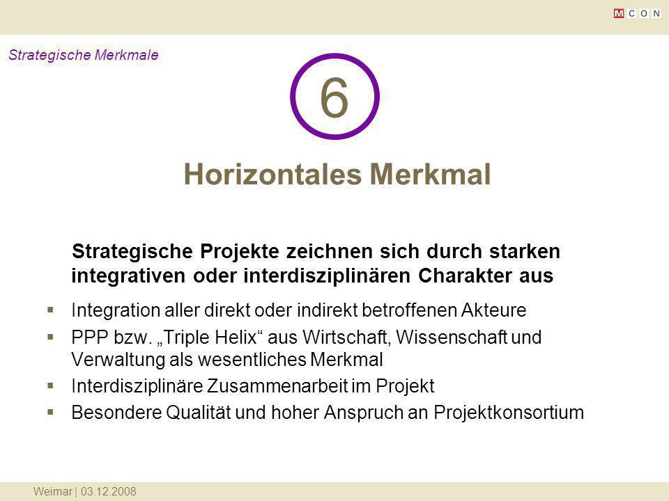 Weimar | 03.12.2008 Horizontales Merkmal 6 Strategische Merkmale Strategische Projekte zeichnen sich durch starken integrativen oder interdisziplinäre