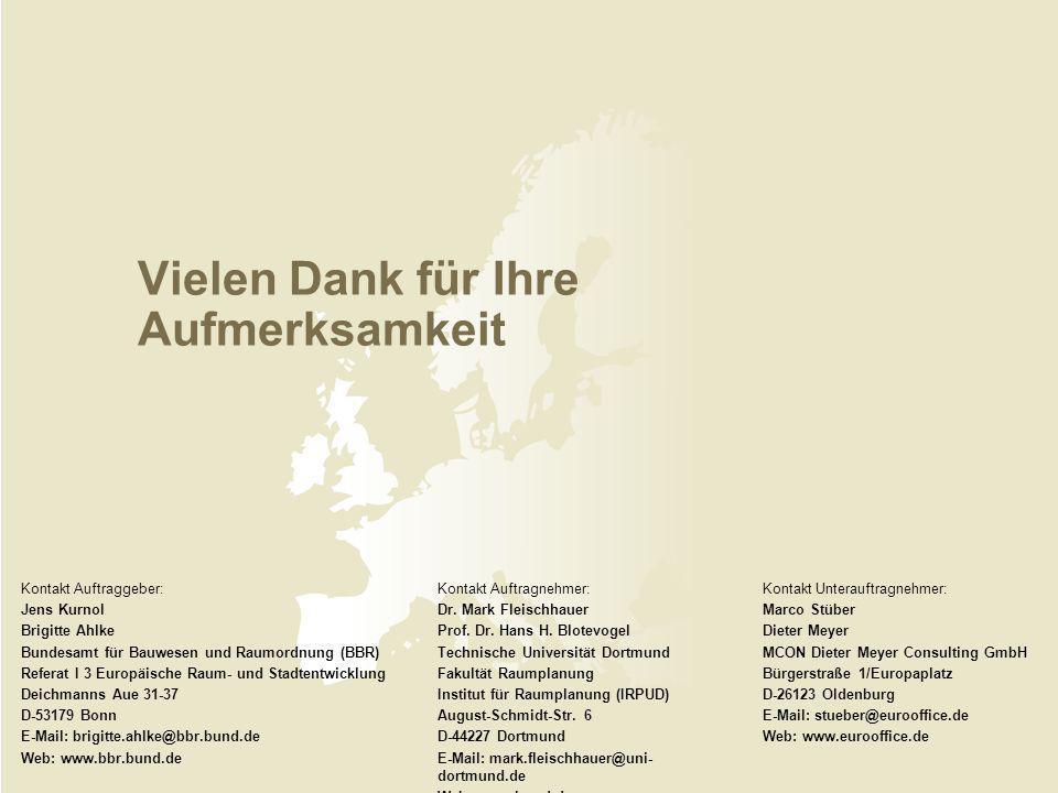 Vielen Dank für Ihre Aufmerksamkeit Kontakt Auftraggeber: Jens Kurnol Brigitte Ahlke Bundesamt für Bauwesen und Raumordnung (BBR) Referat I 3 Europäis