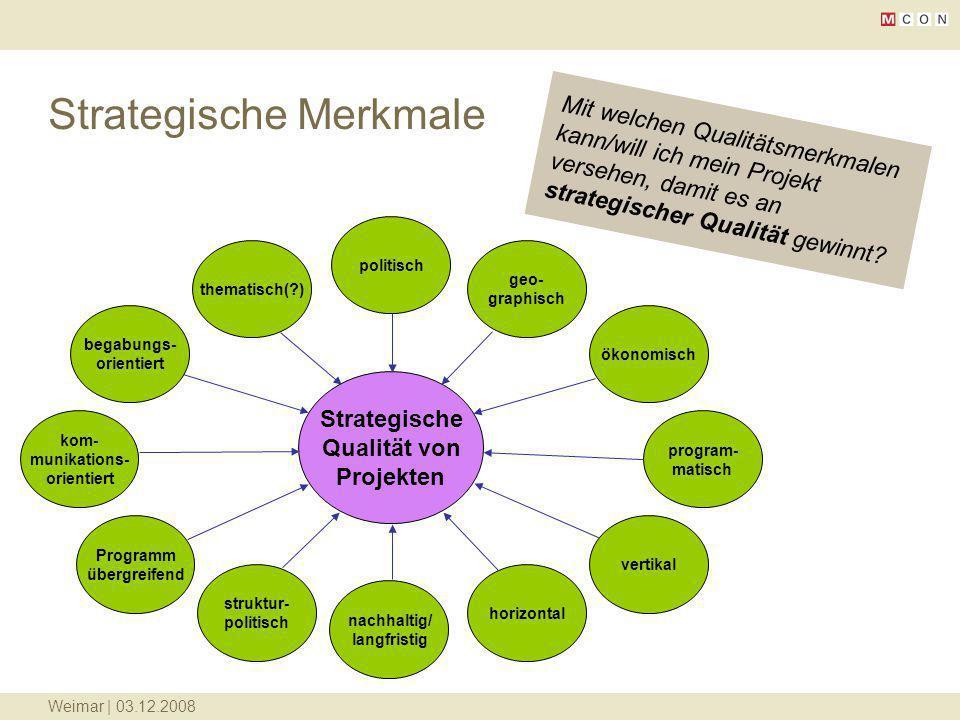 Weimar | 03.12.2008 Strategische Merkmale begabungs- orientiert vertikal program- matisch kom- munikations- orientiert ökonomisch thematisch(?) geo- g