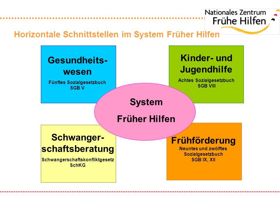 Horizontale Schnittstellen im System Früher Hilfen Frühförderung Neuntes und zwölftes Sozialgesetzbuch SGB IX, XII System Früher Hilfen Kinder- und Ju