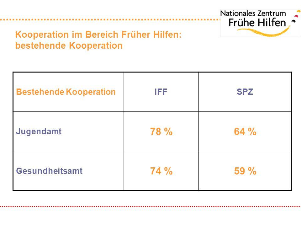 Kooperation im Bereich Früher Hilfen: bestehende Kooperation Bestehende KooperationIFFSPZ Jugendamt 78 %64 % Gesundheitsamt 74 %59 %