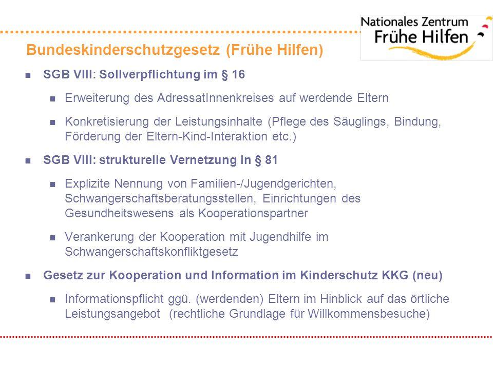 Bundeskinderschutzgesetz (Frühe Hilfen) n SGB VIII: Sollverpflichtung im § 16 n Erweiterung des AdressatInnenkreises auf werdende Eltern n Konkretisie