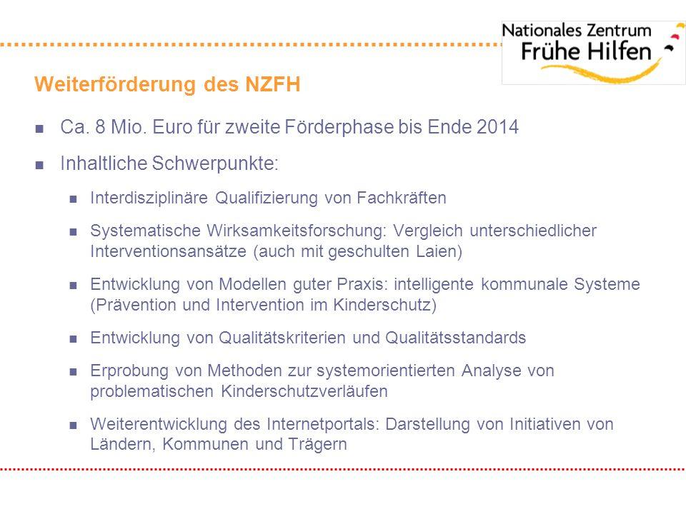 Weiterförderung des NZFH n Ca. 8 Mio. Euro für zweite Förderphase bis Ende 2014 n Inhaltliche Schwerpunkte: n Interdisziplinäre Qualifizierung von Fac