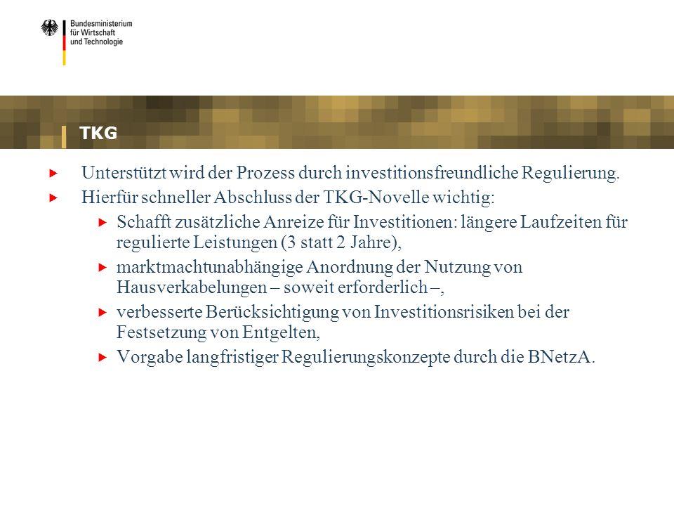 TKG Unterstützt wird der Prozess durch investitionsfreundliche Regulierung. Hierfür schneller Abschluss der TKG-Novelle wichtig: Schafft zusätzliche A