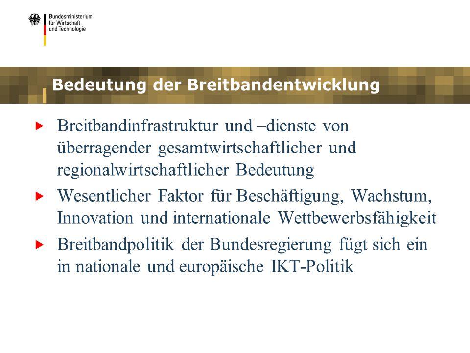 Bedeutung der Breitbandentwicklung Breitbandinfrastruktur und –dienste von überragender gesamtwirtschaftlicher und regionalwirtschaftlicher Bedeutung