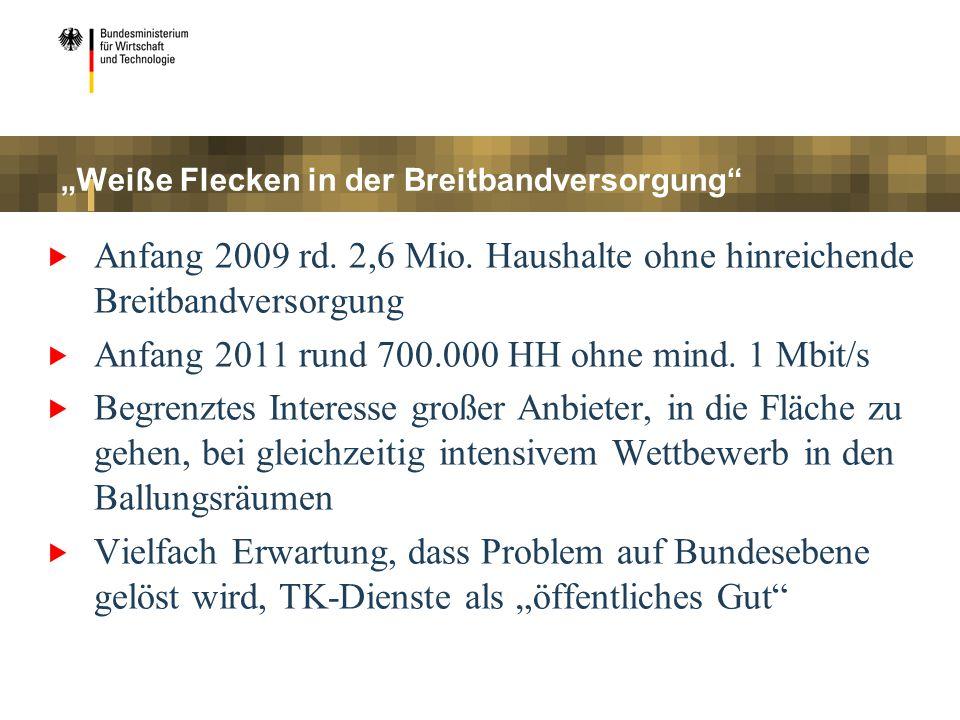 Weiße Flecken in der Breitbandversorgung Anfang 2009 rd. 2,6 Mio. Haushalte ohne hinreichende Breitbandversorgung Anfang 2011 rund 700.000 HH ohne min