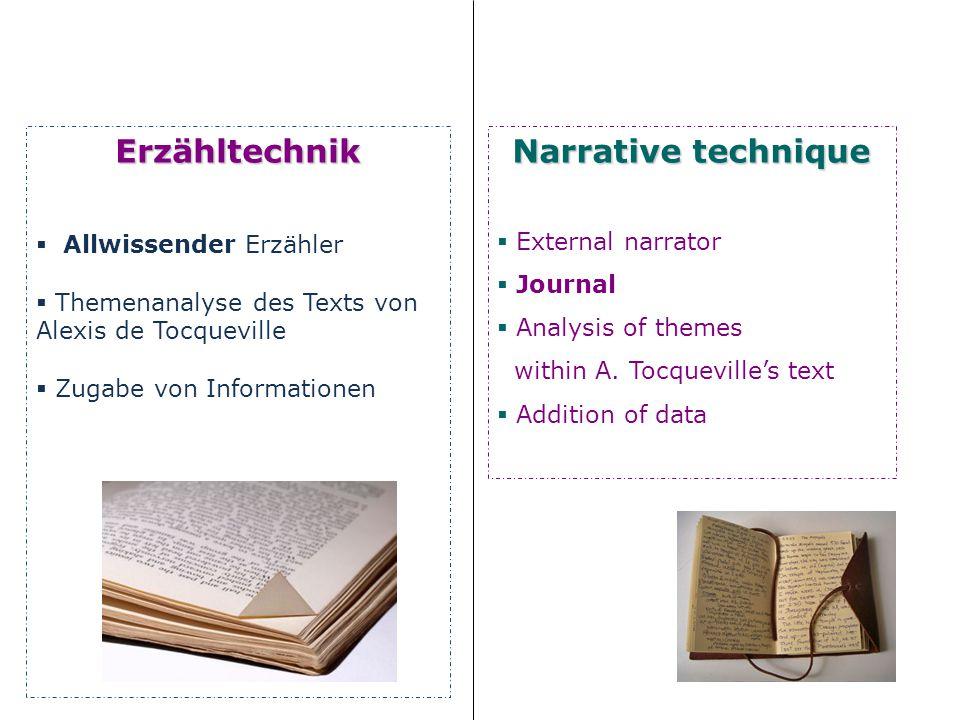Erzähltechnik Allwissender Erzähler Themenanalyse des Texts von Alexis de Tocqueville Zugabe von Informationen Narrative technique External narrator Journal Analysis of themes within A.