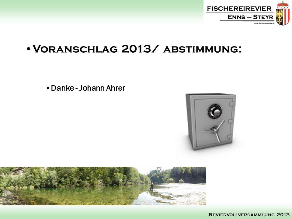 Danke - Johann Ahrer Voranschlag 2013/ abstimmung: Reviervollversammlung 2013