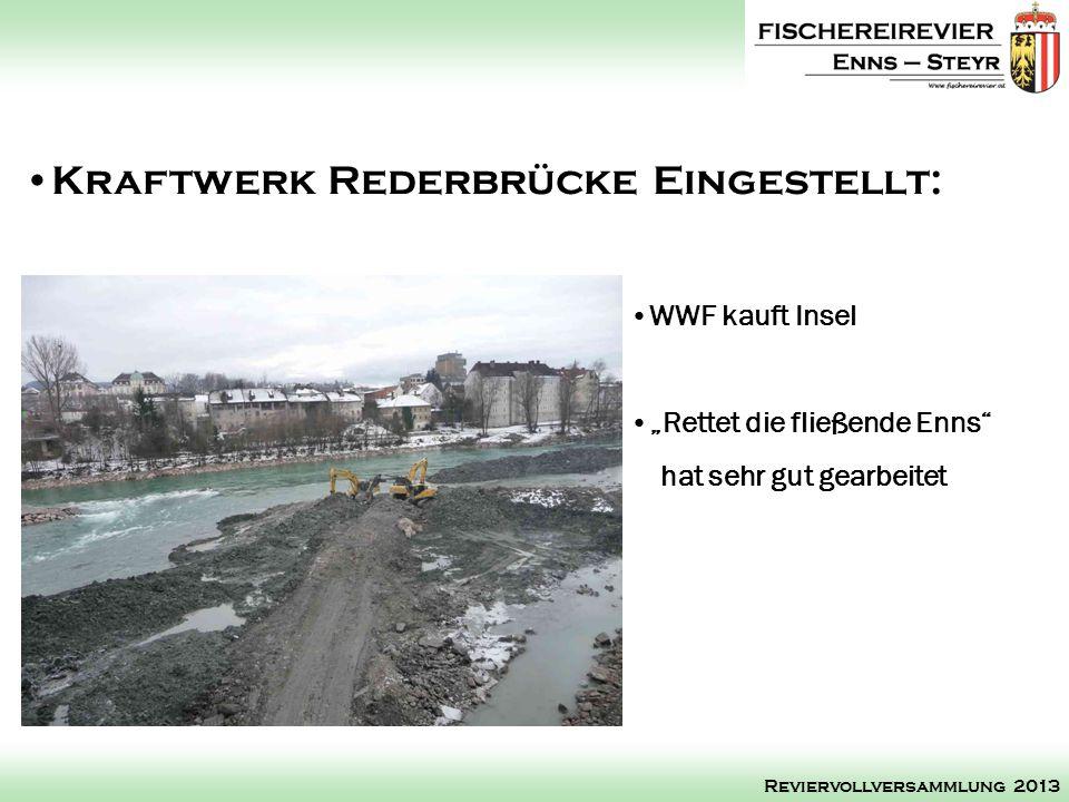 WWF kauft Insel Rettet die fließende Enns hat sehr gut gearbeitet Kraftwerk Rederbrücke Eingestellt: Reviervollversammlung 2013