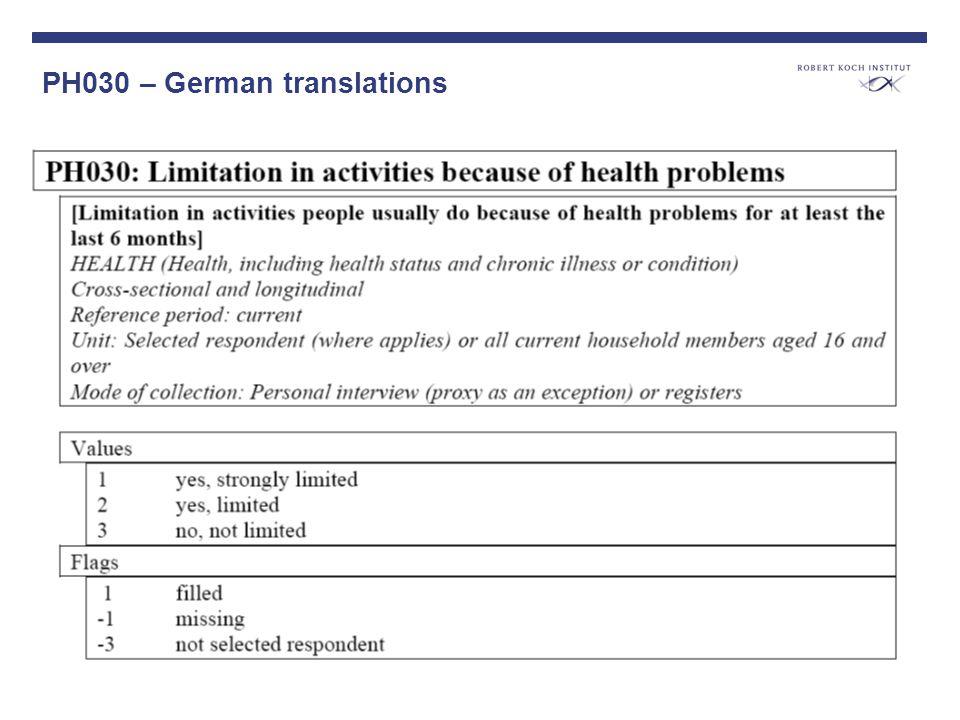 PH030 – German translations Verschiedene Fragenvarianten vorstellen; Unterschiedliche Prävalenzen darstellen policy makers are disappointed about the