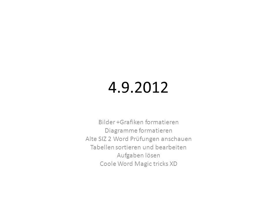 4.9.2012 Bilder +Grafiken formatieren Diagramme formatieren Alte SIZ 2 Word Prüfungen anschauen Tabellen sortieren und bearbeiten Aufgaben lösen Coole