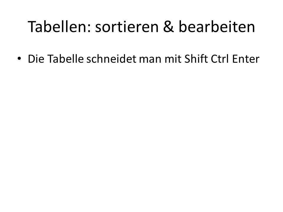 Tabellen: sortieren & bearbeiten Die Tabelle schneidet man mit Shift Ctrl Enter