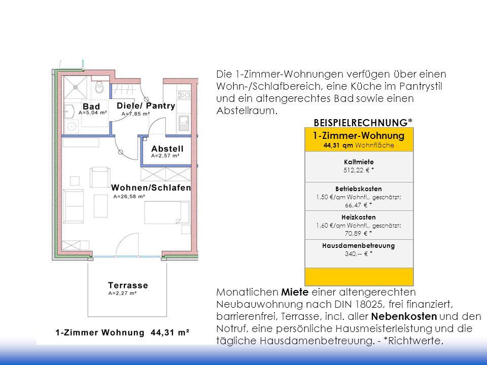 1-Zimmer-Wohnung 44,31 qm Wohnfläche Kaltmiete 512,22 * Betriebskosten 1,50 /qm Wohnfl., geschätzt : 66,47 * Heizkosten 1,60 /qm Wohnfl., geschätzt :