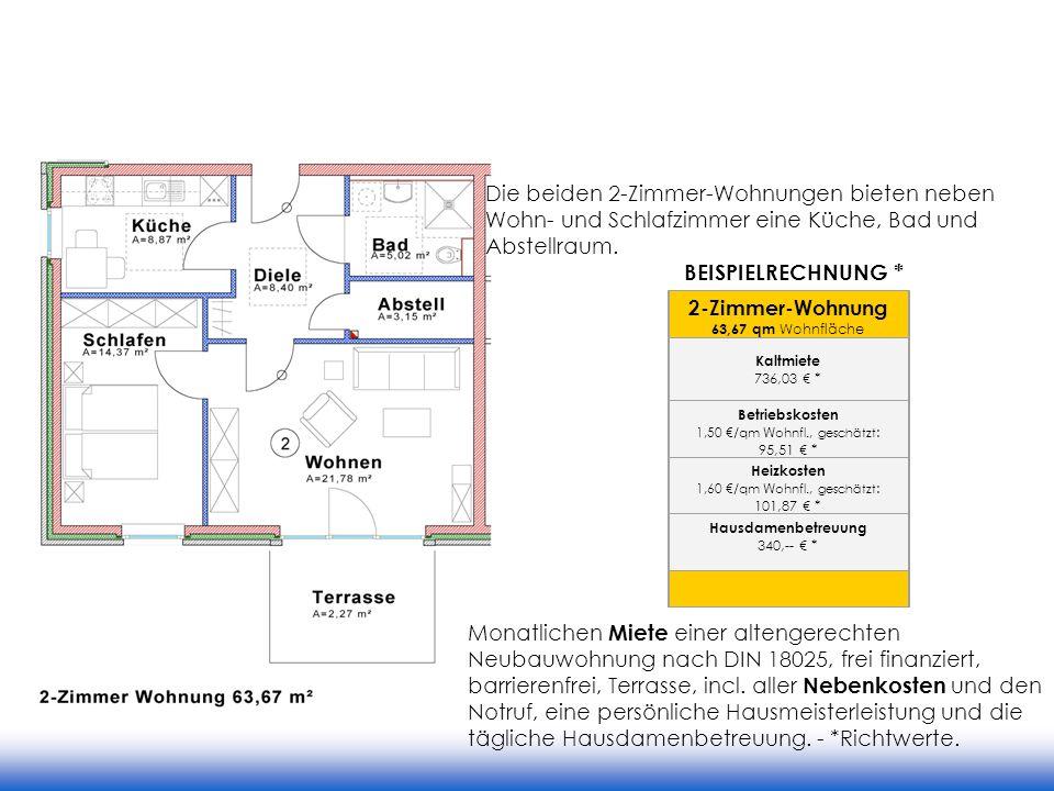 2-Zimmer-Wohnung 63,67 qm Wohnfläche Kaltmiete 736,03 * Betriebskosten 1,50 /qm Wohnfl., geschätzt : 95,51 * Heizkosten 1,60 /qm Wohnfl., geschätzt :