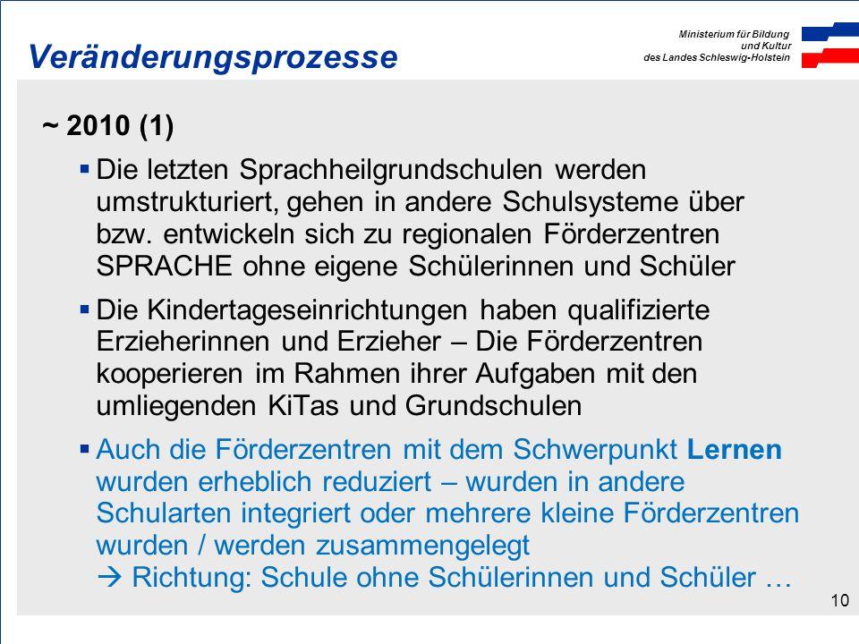 Ministerium für Bildung und Kultur des Landes Schleswig-Holstein Veränderungsprozesse ~ 2010 (1) Die letzten Sprachheilgrundschulen werden umstrukturiert, gehen in andere Schulsysteme über bzw.