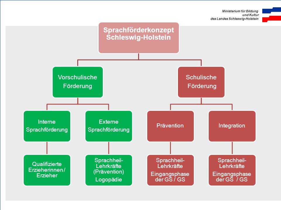 Ministerium für Bildung und Kultur des Landes Schleswig-Holstein Förderschwerpunkt Sprache 6.288 Kinder im vorschulischen Bereich präventiv sprachheilpädagogisch gefördert - unter Berücksichtigung der Beratungstermine steigt diese Zahl auf etwa 12.000 landesweit.