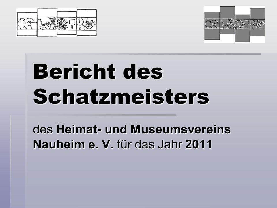 Bericht des Schatzmeisters des Heimat- und Museumsvereins Nauheim e. V. für das Jahr 2011