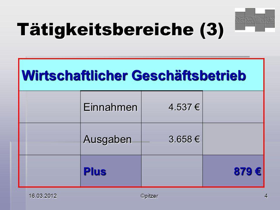 16.03.2012©pitzer5 Tätigkeitsbereiche (4) Vermögensverwaltung Einnahmen 1.530 1.530 Ausgaben 3.294 3.294 Minus 1.764 1.764
