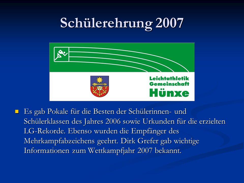 Schülerehrung 2007 Es gab Pokale für die Besten der Schülerinnen- und Schülerklassen des Jahres 2006 sowie Urkunden für die erzielten LG-Rekorde.