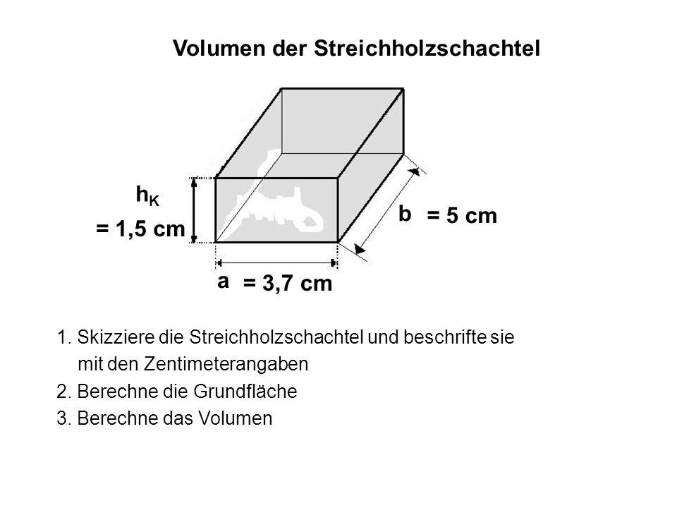 a b = 3,5 cm = 5 cm = 3,7 cm a = 5 cm b G = a * b = 18,5 cm 2 hKhK = 1,5 cm V = G * h K = 27,75 cm 3 Volumen der Streichholzschachtel G = 3,7 cm * 5cm = 18,5 cm 2 = 18,5 cm 2 * 1,5 cm