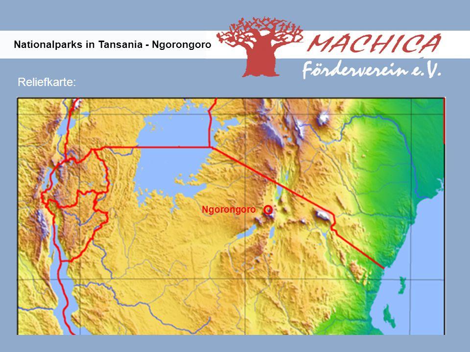 Ngorongoro Reliefkarte: Nationalparks in Tansania - Ngorongoro
