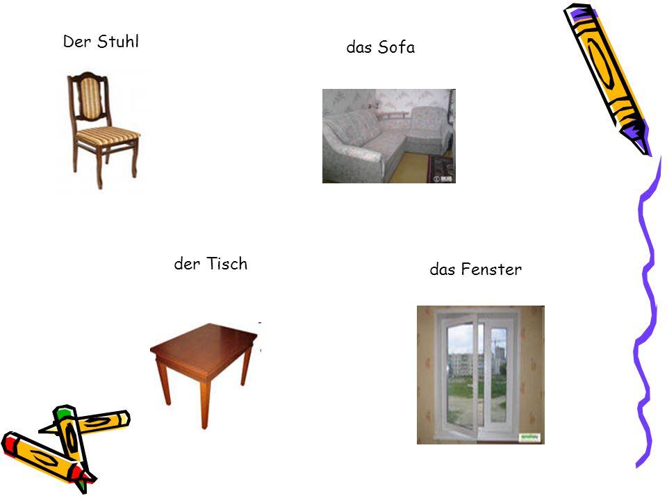 Der Stuhl das Sofa der Tisch das Fenster