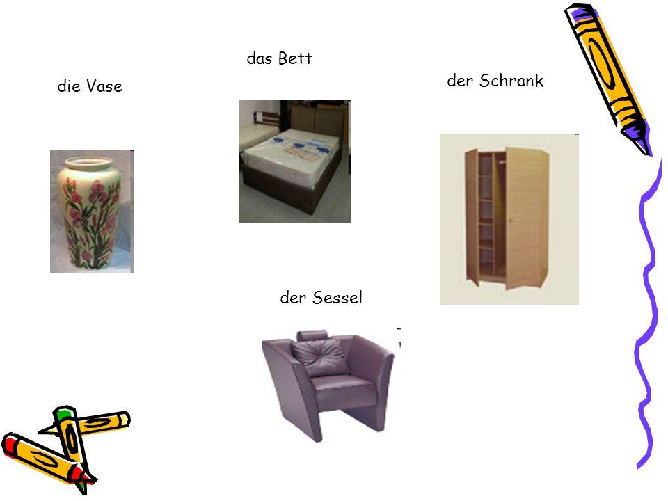 die Vase das Bett der Schrank der Sessel