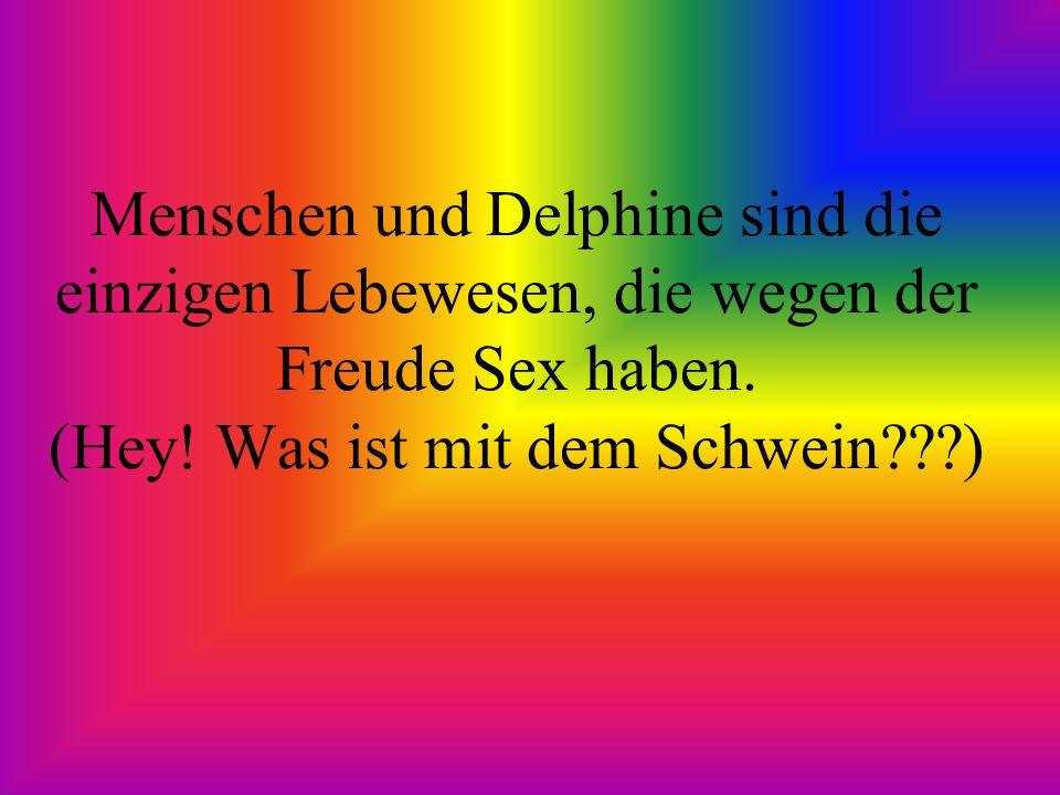 Menschen und Delphine sind die einzigen Lebewesen, die wegen der Freude Sex haben. (Hey! Was ist mit dem Schwein???)