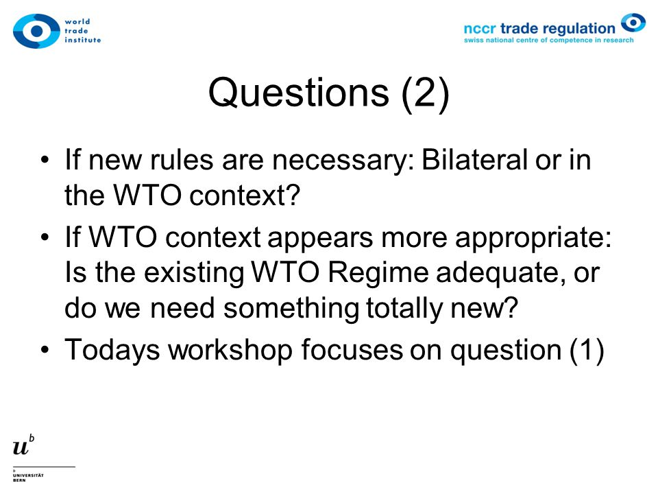 Questions (2) If new rules are necessary: Bilateral or in the WTO context.
