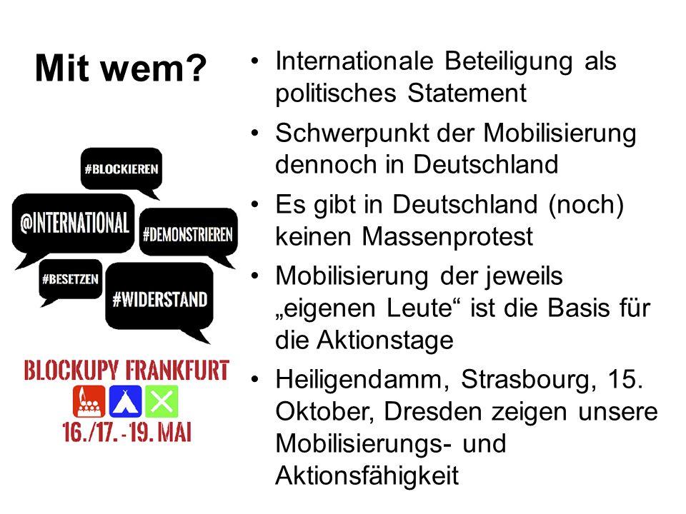 Welche Bündnisse + Spektren .Europäisches Vernetzungstreffen am 22.1.12: ca.