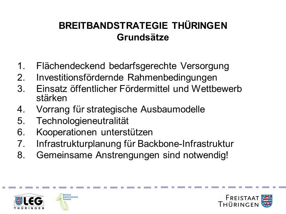 Breitbandgipfel 24. Juni 2011 BREITBANDSTRATEGIE THÜRINGEN Grundsätze 1.Flächendeckend bedarfsgerechte Versorgung 2.Investitionsfördernde Rahmenbeding