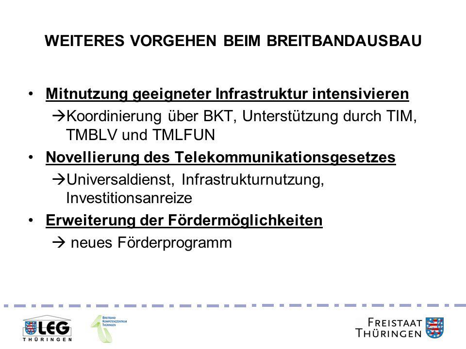 Breitbandgipfel 24. Juni 2011 WEITERES VORGEHEN BEIM BREITBANDAUSBAU Mitnutzung geeigneter Infrastruktur intensivieren Koordinierung über BKT, Unterst