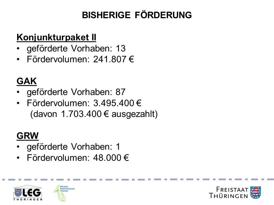 Breitbandgipfel 24. Juni 2011 BISHERIGE FÖRDERUNG Konjunkturpaket II geförderte Vorhaben: 13 Fördervolumen: 241.807 GAK geförderte Vorhaben: 87 Förder