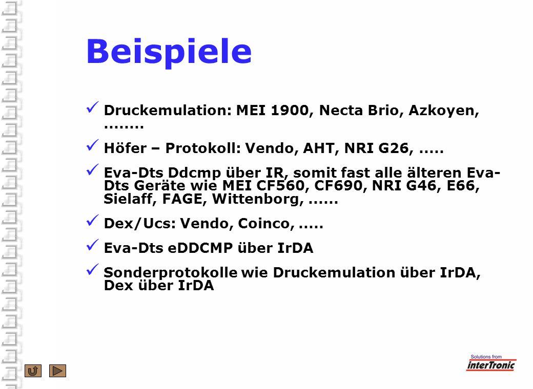 Beispiele Druckemulation: MEI 1900, Necta Brio, Azkoyen,........