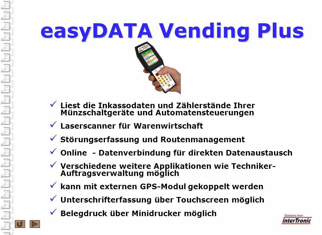 TFT-Display für übersichtliche Informationen Touchscreen für Unterschrifterfassung Windows CE © 6.0 –Basis Bluetooth und WLAN für Datenverbindungen Daten werden sicher im Flash gespeichert (Micro-SD) Infrarot und IrDA-Standard RS232, TTL und Analogschnittstelle in einem easyDATA Vending Plus