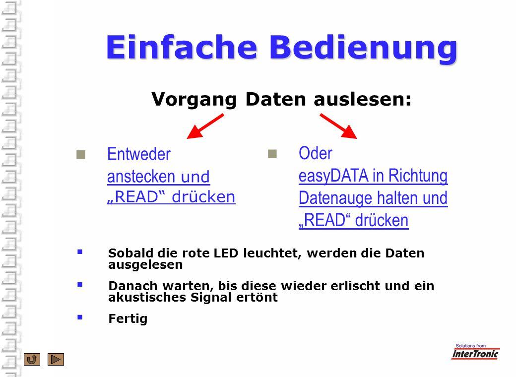Einfache Bedienung Einfache Bedienung Vorgang Daten auslesen: Entweder anstecken und READ drücken Oder easyDATA in Richtung Datenauge halten und READ drücken Sobald die rote LED leuchtet, werden die Daten ausgelesen Danach warten, bis diese wieder erlischt und ein akustisches Signal ertönt Fertig