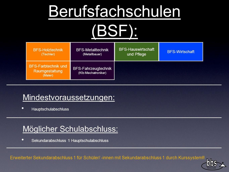 Berufsfachschulen (BSF): BFS-Holztechnik (Tischler) BFS-Farbtechnik und Raumgestaltung (Maler) BFS-Metalltechnik (Metallbauer) BFS-Fahrzeugtechnik (Kfz-Mechatroniker) BFS-Hauswirtschaft und Pflege BFS-Wirtschaft Mindestvoraussetzungen: Hauptschulabschluss Möglicher Schulabschluss: Sekundarabschluss 1 Hauptschulabschluss Erweiterter Sekundarabschluss 1 für Schüler/ -innen mit Sekundarabschluss 1 durch Kurssystem!!