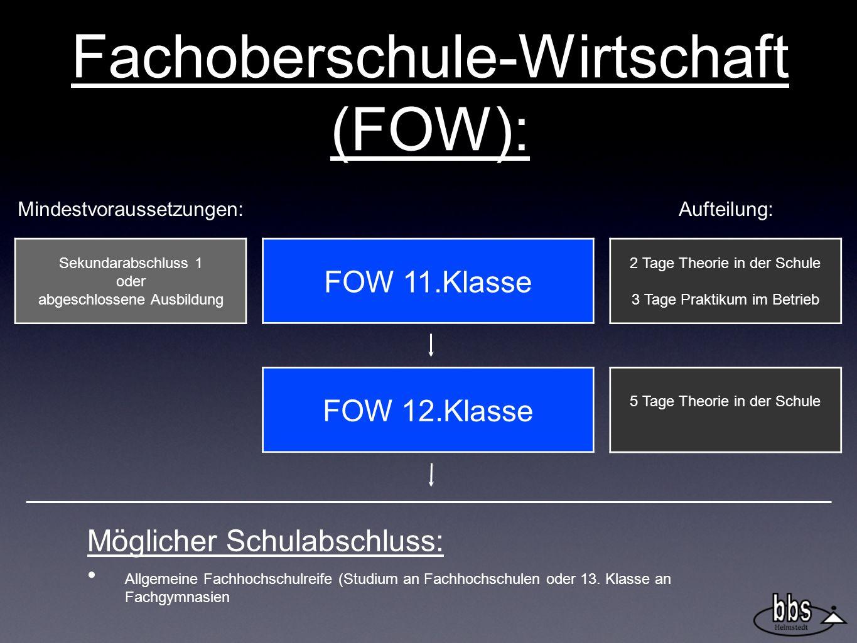 Fachoberschule-Wirtschaft (FOW): FOW 12.Klasse FOW 11.Klasse 2 Tage Theorie in der Schule 3 Tage Praktikum im Betrieb 5 Tage Theorie in der Schule Sek